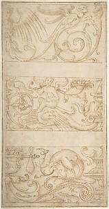 Antique-Style Ornamental Frieze Designs: Grotesques with Winged Infant, Masks, and Fantastic Animals