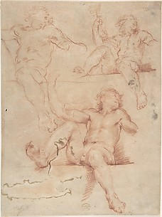 Three Studies of Seated Nude Male with Raised Arm, Seen from Below.