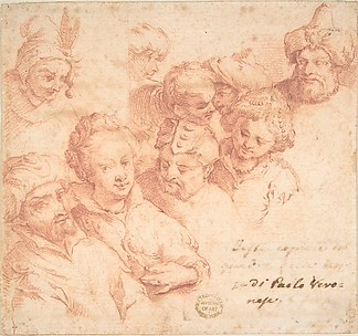 Nine heads after Paolo Veronese