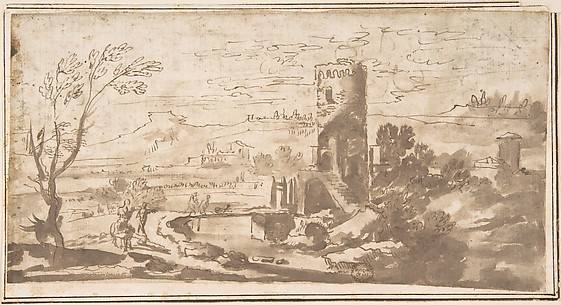 Landscape with Round Tower and Figures Crossing a Bridge