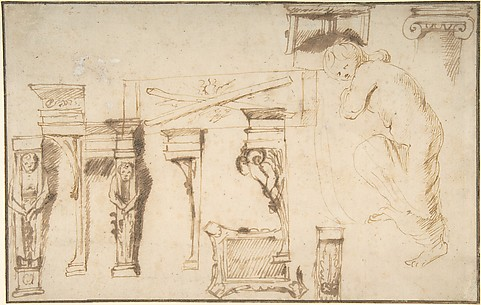 Design for a Chimney Place and Study of a Nude Female Figure.