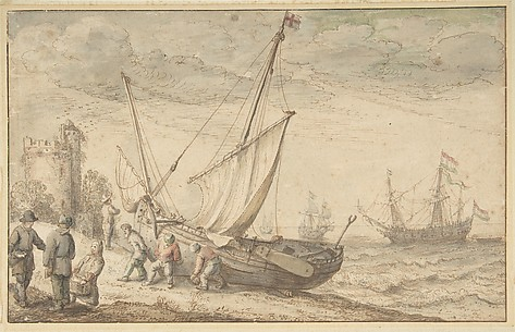 Fisherfolk Hauling their Boat onto the Shore
