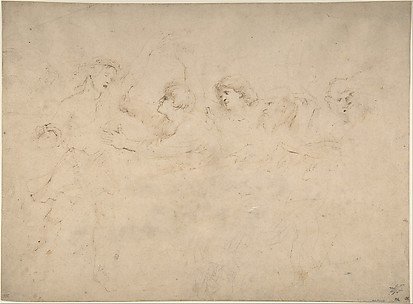 Alcibiades Interrupting the Symposium; verso: Sketches of the Baptism of Christ and of a Man