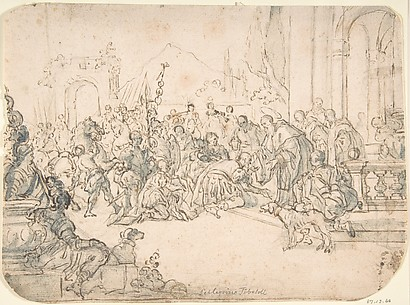 Saint Benedict Receiving a Warrior (recto); Sketch of Crowded Narrative Scene (verso)