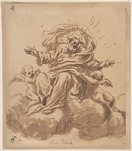 God the Father Seated on a Cloud, Flanked by Two Putti