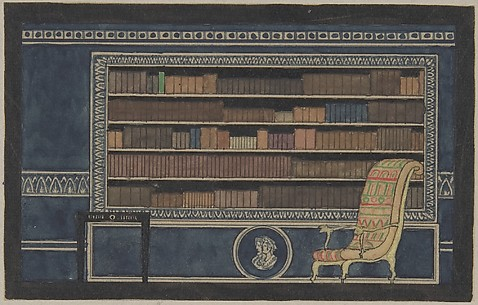 View of Interior for Paris Exhibition 1925, Bookcase Wall Elevation