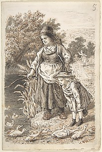 Woman and Child by a Duck Pond