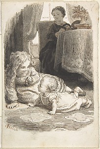 Mother Watching Over Two Young Children Playing (recto); Baby in a Bassinet (verso)
