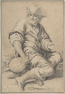 Seated Man Holding a Jug