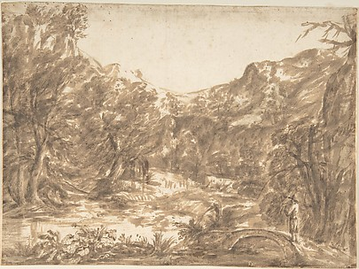 Landscape with Figure Standing on a Bridge