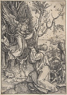 Recto: Joachim and the Angel; Verso, in upper right hand corner: three figures with loose draperies