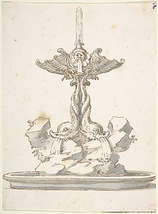 Design for Fountain with Dolphins and Grotesque Head