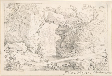 Landscape with a Natural Arch and a Waterfall