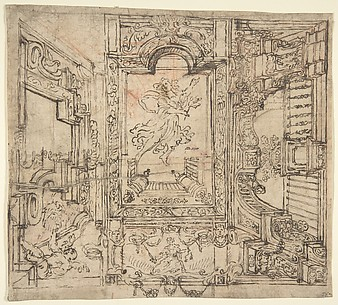 Design for a Painted Ceiling: Perspective Architectural with a Figure at the Center