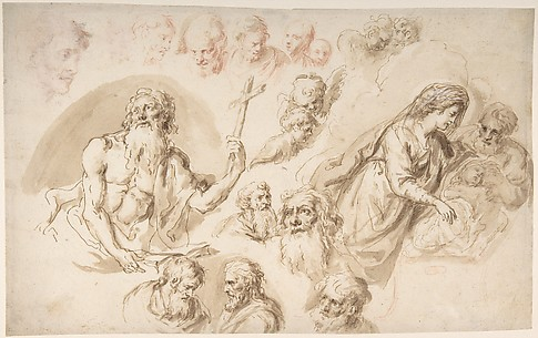 Study for a Nativity, Bearded Male Saint, and Head Studies (recto); Two Head Studies (verso)