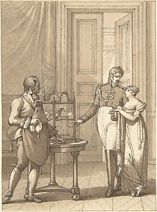 Design for a Book Illustration: an Amorous Couple Beside Birds in a Cage