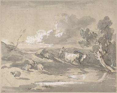 Open Landscape with Herdsman, Cows, and Sheep