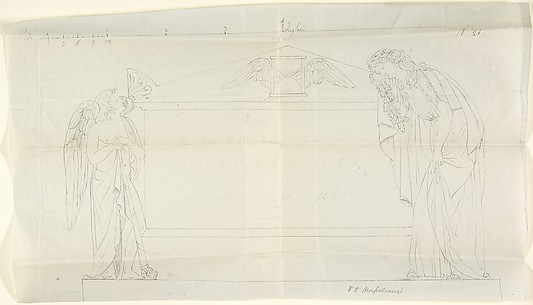 Design for a Sarcophagus with Two Mourning Figures