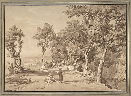 Figures in a Grove above  the Bay of Naples