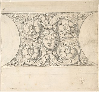Classical Molding with Human Head, Leaves, Vines and Empty Roundels (recto); Detail of Classical Molding with Eagle In front of a Wreath with Ribbon Below (verso)
