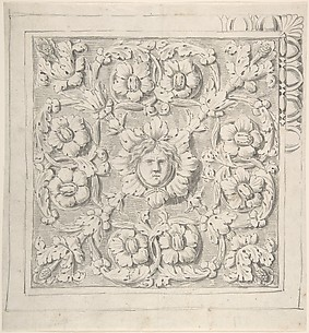Classical Molding with Human Head at the Center Surrounded by Leaves and Vines