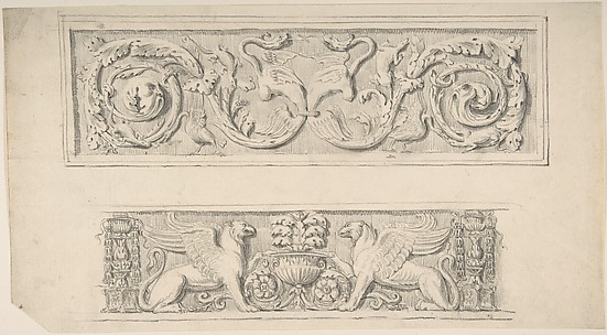 Two Frieze Designs: Decorated with Birds, Reptiles and Vines, Griffins and Vases
