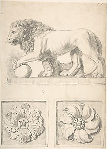 Classical Sculpture of a Lion and Two Rosettes