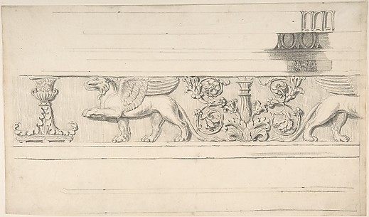 Classical Frieze with Griffins and Candleabra, and Molding Details