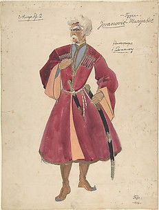 Theater costume design for warrior with a dagger and gun