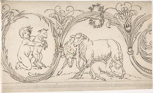 Ornament Containing a Boy and some Sheep