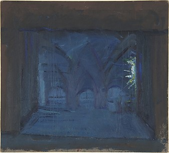Stage design for monastery scene for a Maurice Maeterlinck play at Pitoëff Theatre, Paris