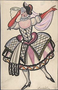 Woman in a harlequin costume holding a mask