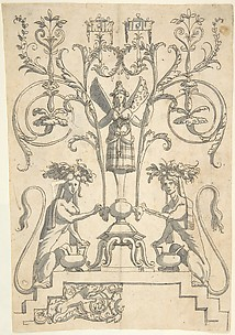 Candelabra Grotesque with a Winged Female Term on a Pedestal