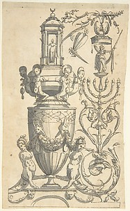 Candelabra Grotesque with a Large Vase Flanked by Sphinxes