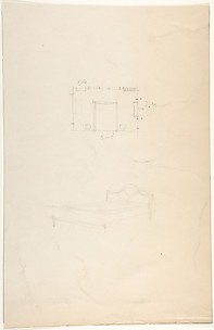 Floorplan of a Bedroom and Sketch of a Bed with