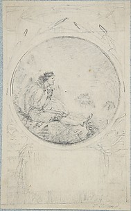 Seated man in circular medallion