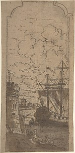 Framed Port scene with two figures