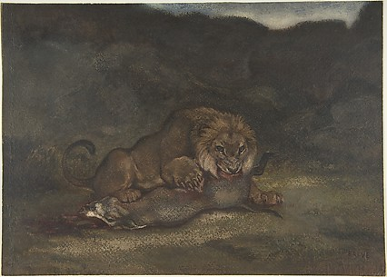Lion Devouring Prey