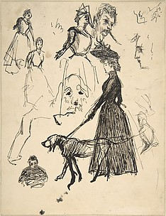 (r) Sketches of Andre Bonnard, the dog Ravageau, Claude Terrasse and, at lower left, the artist, himself, c. 1889; (v) A Grass Hut before a Wattled Fence