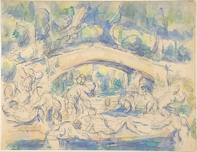 Bathers by a Bridge (recto);  Study after Houdon's Ecorché (verso)