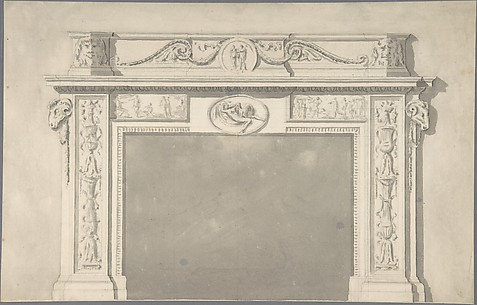Design for a Classical Chimneypiece with Rams Heads, and Leda and the Swan.