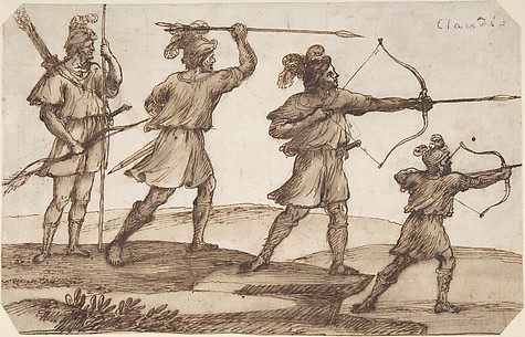 Three Archers and a Figure with a Spear