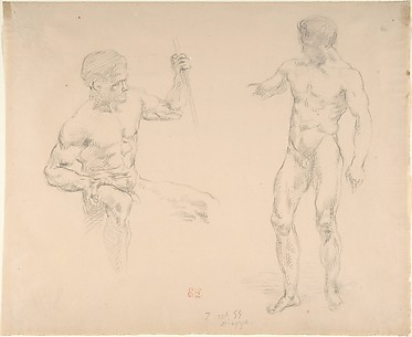 Two Male Nudes, Seated and Standing, after photographs of models by Eugène Durieu
