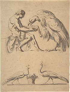 Jupiter, disguised as an eagle, with Ganymede, and a sketch of  two peacocks
