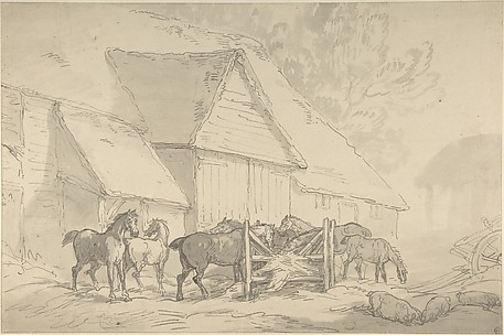 Stable Yard with Horses