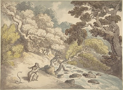 Landscape with rushing stream and a couple on the bank, frightened by a snake