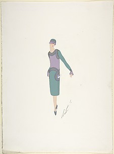 Design for Davidow, New York: Dress, Hat and Shoes in Soft Green, Lavender and Blue