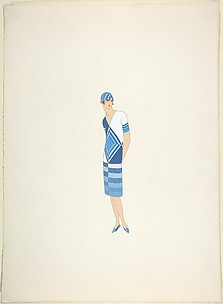 Design for Davidow, New York: Dress, Hat and Shoes in Seven Shades of Blue and White