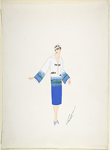 Design for Davidow, New York: Dress of White, Blue and Green with Border of Sea Ripples and Fish at Hips and Sleeves and a Hat