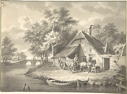 A Haywagon Infront of a Cottage Beside a Stream